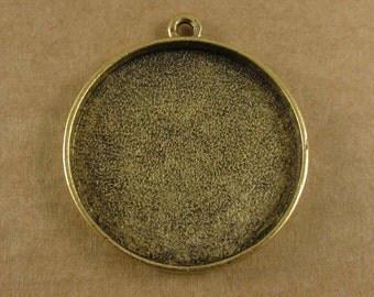Large Circle Bezel Frame Tray Antique Gold Finish for Pendants