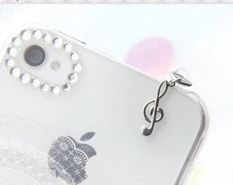 FREE Shipping-Music Note iPhone Earphone Plug. Treble Clef Cell Phone Charm. iPhone4, iPhone6, iPad, Samsung, iPhone Accessories.
