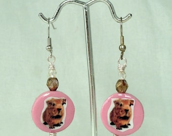 BABY GUINEA PIG Earrings - Bubblegum Pink, Silver & Topaz Brown Crystal and Polymer Clay Photo Jewelry Earrings