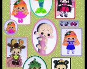 Miniature Doll & Clothes or Costumes Crochet Pattern in Digital PDF format ALL 4 Marnie Milk Cap Cutie Sets