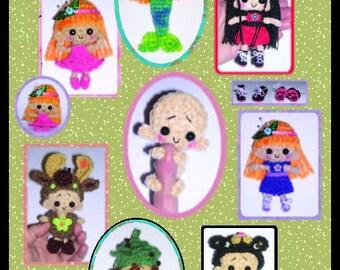 Miniature Doll & Clothes or Costumes Crochet Pattern in Digital PDF format ALL 4 Marnie Milk Cap Cutie Sets