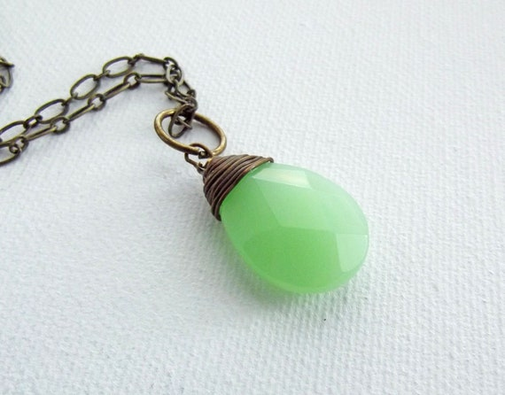 Wire wrapped green briolette necklace