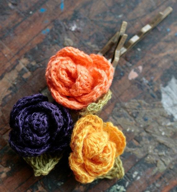 Linen flower hairpins - set of 3