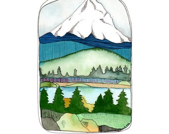 Art - Art Print - Watercolor Art Print - Oregon Art - Mt Hood Art - Print of Mt Hood Oregon - 8x10 Art Print - Mt. Hood Art - Mt. Hood