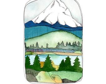 Art Print - Wall Art - Watercolor Art Print - Oregon Art - Mt Hood Art - Print of Mt Hood Oregon - 8x10 Art Print - Mt. Hood Art - Mt. Hood
