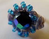Faceted teal and blue wrapped recycled telephone wire ring - size 9 / 9.5 - 100% for Cancer research