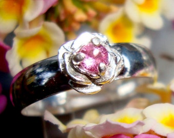 Ring Rose Pink Sapphire in recycled .925 sterling silver - Fair Trade eco friendly- Custom made in your size