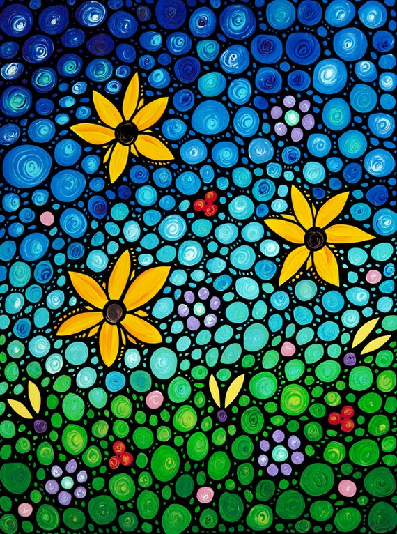 Colorful Print From Painting Art Floral Contemporary Yellow Flowers Flower Garden Blue Sky Mosaic - GICLEE PRINT