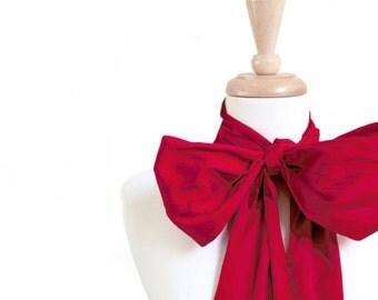 Red Wedding Sash, Silk Sash, Wedding gown