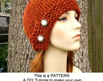 Instant Download Knitting Pattern - Knit Hat Pattern Chunky Cloche Hat Pattern - Womens Hat Pattern Knit Cloche Pattern - Womens