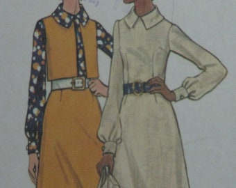 Butterick 6140, 1970s dress and short jacket or vest