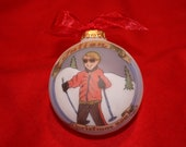 Skier on the Slopes, Handpainted, Personalized Ornament for Boy or Girl, Totally Original Design