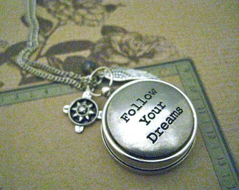 Working Compass Necklace, Graduation Gift, Follow Your Dreams, SIlver Compass, Compass Necklace, Quote Compass, Quote Charm,Best Friend Gift
