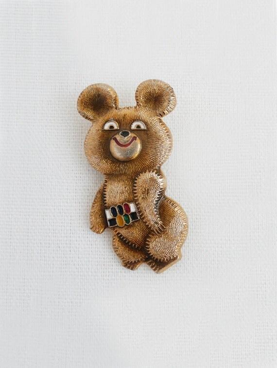Vintage Misha Bear Pin - 1980 Moscow Olympics souvenir
