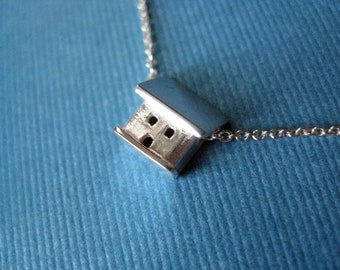 Sterling Silver Necklace Tiny Cottage Pendant Slide Charm