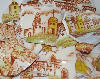 Supplies   Mosaic Pieces - Vintage Scenic Pieces-  TransferMosaic Pieces - Castles - Church- Houses- Lake -Trees -Mosaic Pieces