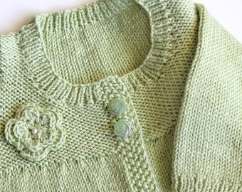 Toddler Cardigan Sweater With Crochet Flower. Kids Pale Green Sweater. Hand Knit Childrens Sweater. Toddler Girl 12 to 24 Months Jumper
