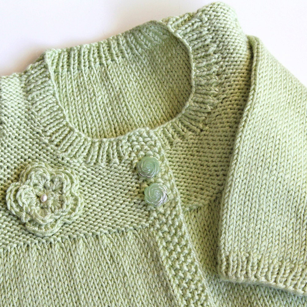Toddler Cardigan Sweater With Crochet Flower. Kids Pale Green