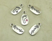 5 TierraCast REMEMBER Word Sentiment Footprint Charms > Glue In Swarovski - Silver Plated Lead Free Pewter - I ship Internationally 2251