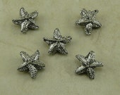 5 Star Fish Starfish Beads > Sea Star Ocean Beach - Raw American made - Lead Free Pewter - I ship internationally