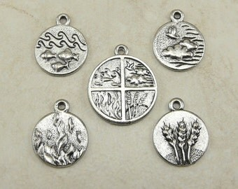 5 Piece Four Elements Pendant & Charm Mix Pack - Wind Air Land Earth Fire Water - Raw American made Lead Free Pewter I ship internationally