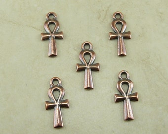 5 Small TierraCast Egyptian Ankh Charms > Egyptian King Tut Hieroglyphics - Copper Plated Lead Free Pewter - I ship Internationally 2296