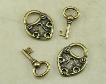 4 TierraCast 2 Large Lock and 2 Key Charms Mix Pack > Padlock Shackle Heart Love - Brass Ox Plated Lead Free Pewter - I ship Internationally