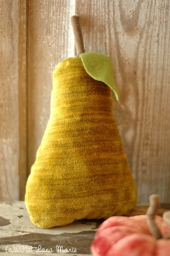 Autumn Vintage Chartreuse Velvet Pear Pincushion or Fall Holiday Decor - Upcycled Recycled Textiles - Gold Green - CSSTEAM