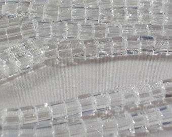 "Glass Beads (GB126) 4mm Clear Glass Cube Beads 14"" strand about 85 Beads per strand Geometric Clear Cube Beads for Jewelry Making and Crafts"