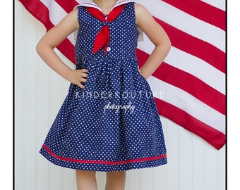 Sailor Dress Pattern - PDF Sewing Pattern - Girls Sailor Collar Dress