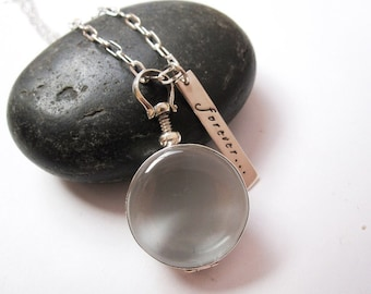 Hand stamped jewelry Double sided glass and sterling locket necklace