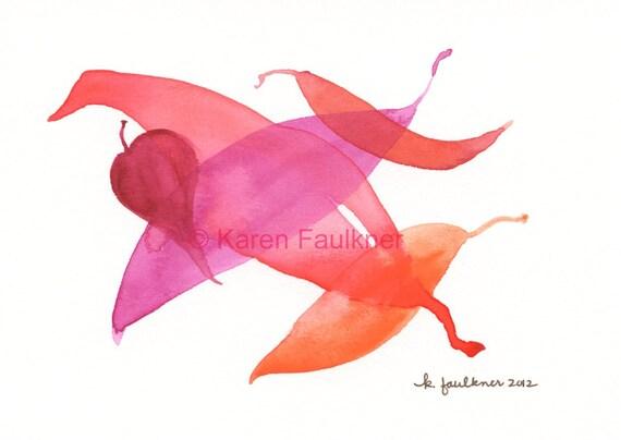 Leaf Dance original watercolor painting