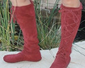 Earthgarden Enchanted ElfBoots Handmade laceup Moccasins Knee high Burgundy suede w/rubber soles festival, circus, renfaire, forest fantasy