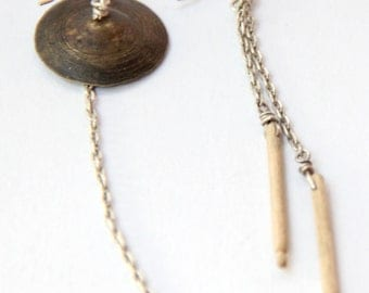Cymbal and Drumsticks Earrings