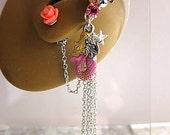 Pink Mermaid With Starfish Ear Cuff And Rose Stud Earring Ear Vine Flower Silver Fantasy Sea Ocean Feminine Elegant Glamorous
