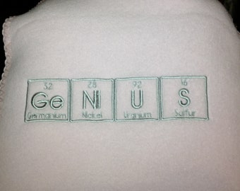 GeNiUS Scarf in Periodic Table Letters Science Chemistry Geek Winter MADE TO ORDER