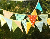 SAVE on a DOUBLE LENGTH banner, 18 Flags. Colorful Fabric Bunting Banner Prop Decoration in Orange, Green, Yellow and Aqua Designer's Choice