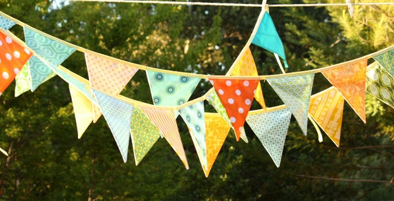 Colorful Fabric Bunting Banner Prop Decoration in Orange