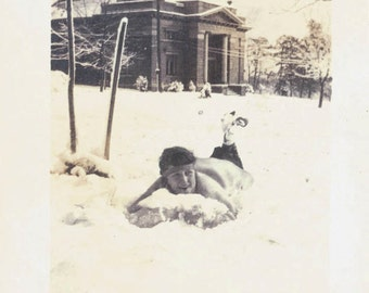 vintage photo Young Lady lying in snow 1913