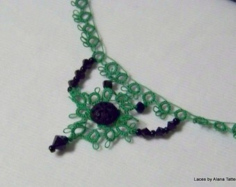 Absinthe Tatted Lace Necklace with Crystals and Button