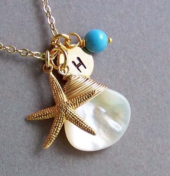 Personalized Nautical Necklace - Starfish Charm Necklace, Genuine MOP,  Coastal Necklace, Ocean Themed Jewelry, Bridesmaids Gifts - 3013
