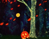 Black Cat Halloween Pumpkin ACEO Folk Art PRINT of Todd Young painting