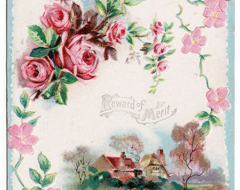 Antique Ephemera - Reward of Merit given to Rita Morris - pretty roses and house - great condition