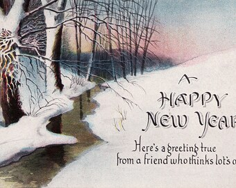 2 Vintage New Years Postcards - New Years 1915 and 1921