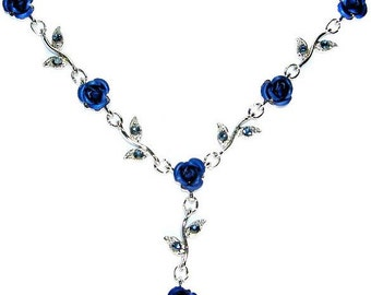 Swarovski Crystal Sapphire Royal Blue Rose Flower Floral Charm Pendant Chain Necklace Christmas Best Friend Bridal Bridesmaid Jewelry Gift