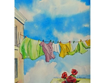 "Watercolor Clothesline Art, 14"" x 10"" Original Painting, Laundry Room Decor, Washday Art, Clothes Line, Laundry Art"