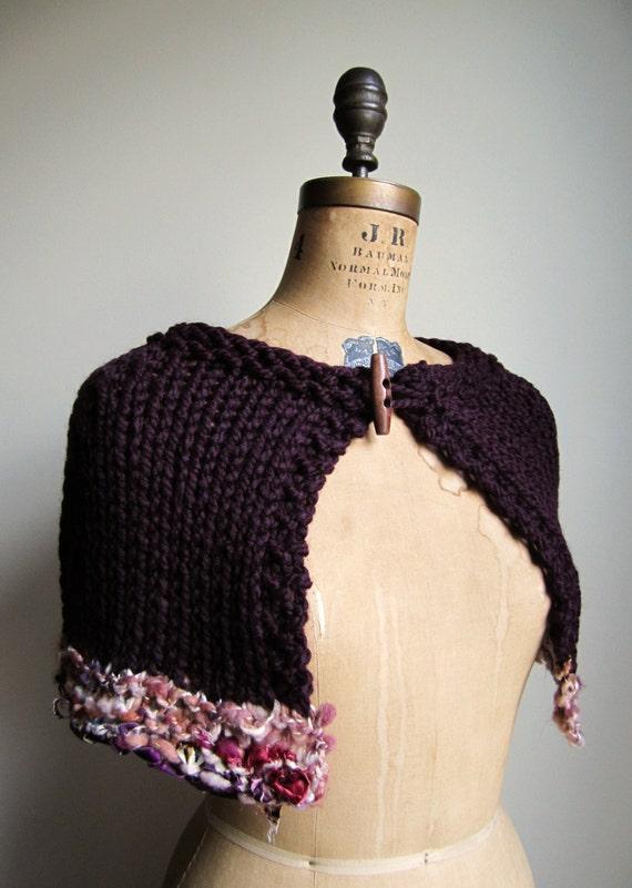 Bohemian knit Art cape Plum. Cream. READY to Ship