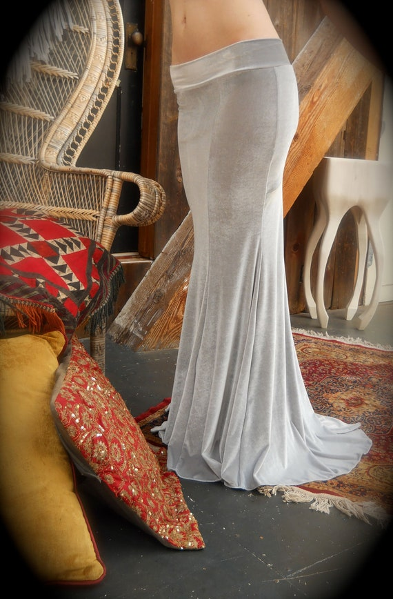 3 Ready Made Super Bootie Low Rise Mermaid Skirts in Silvery Grey for Danielle Sansom.
