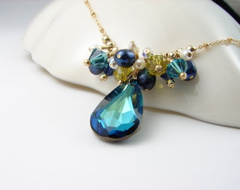 Crystal and Pearl Cluster Necklace Bermuda Blue Gold Filled