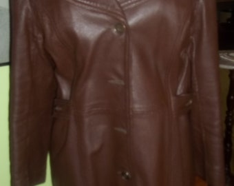 Ultra SLEEK and CHIC 1970's Brown Leather Coat with Funky Butterfly Collar